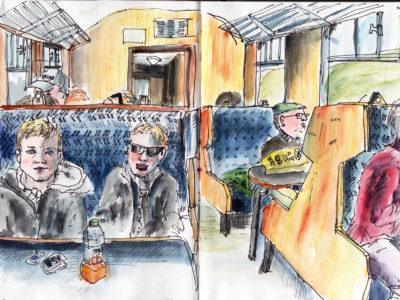 Return train journey in pen and watercolour