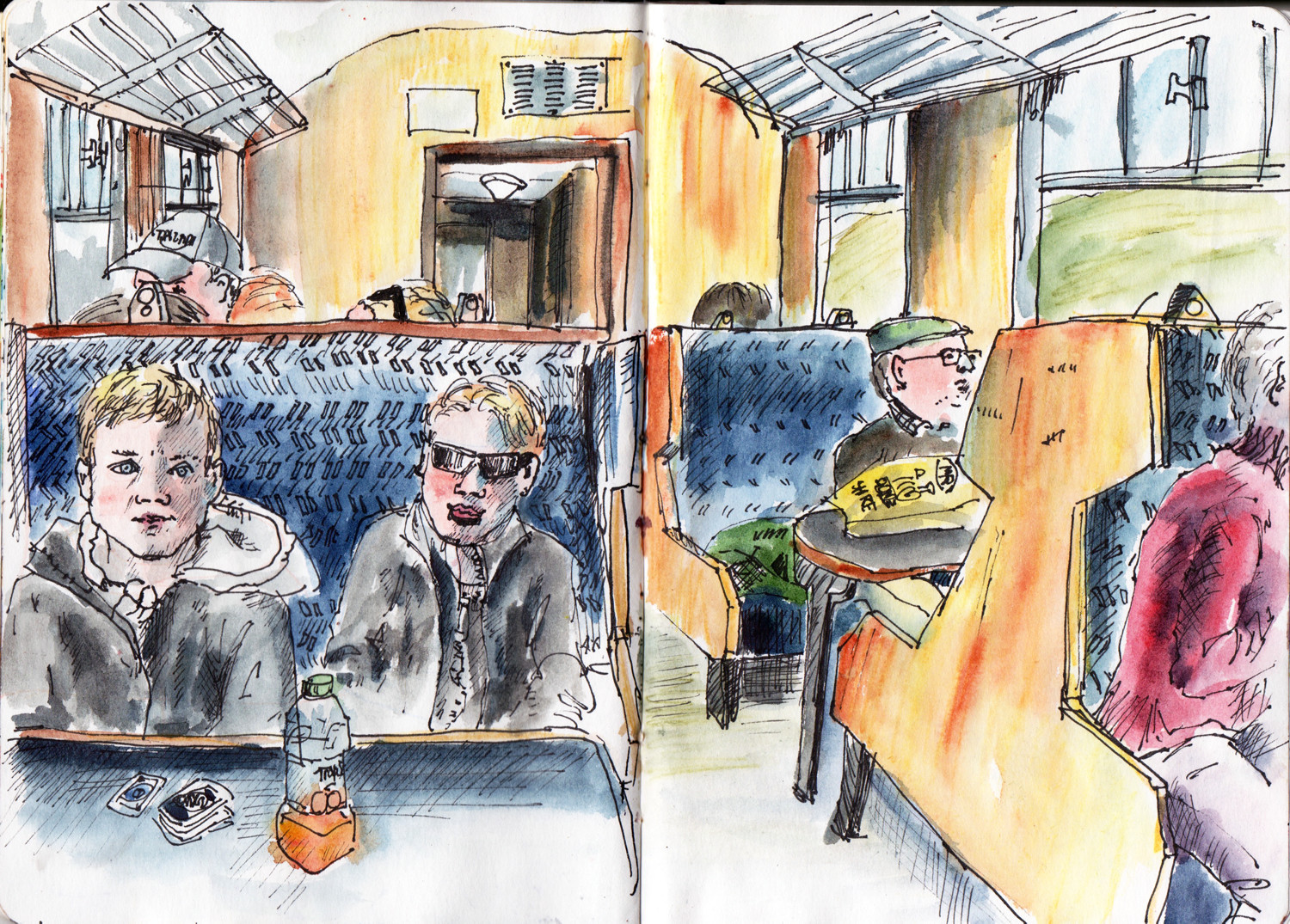 Return train journey in pen and watercolour