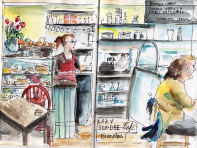 Lazy Sunday Cafe - Sketch in pen and watercolour by Sophie Peanut
