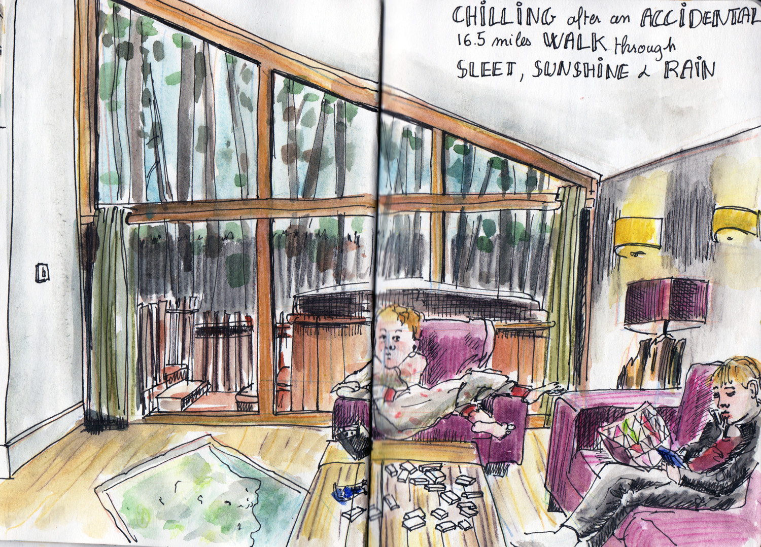Holiday sketching in Cropton Forest Cabins by Sophie Peanut