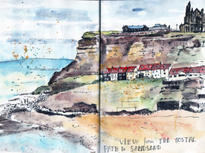 Whitby - Looking towards the Abbey - Pen and Watercolour sketch by Sophie Peanut