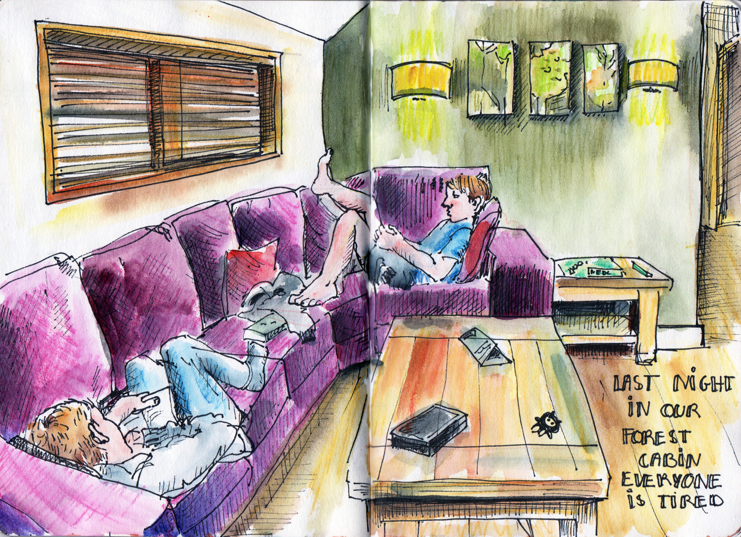 Chilling before bed - Pen, Watercolour and Inktense pencils sketch by Sophie Peanut
