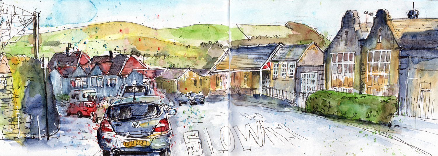 Urban Sketch in Watercolour and pen by Sophie Peanut - Dudwell Lane Halifax UK