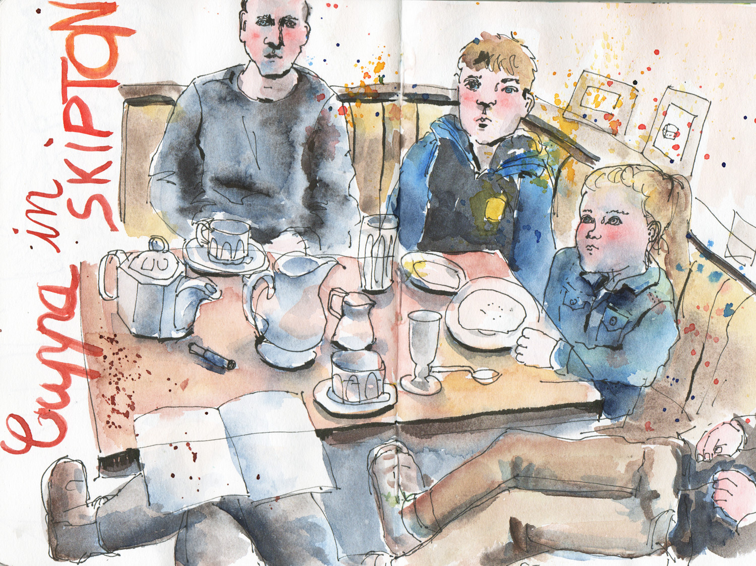 Cafe Sketch in pen and watercolour by Sophie Peanut