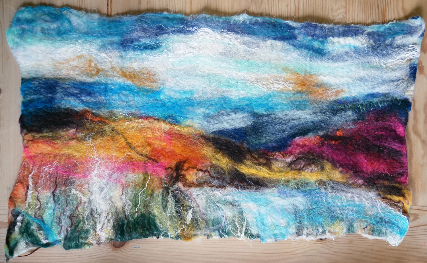 Textile art made at Valerie Wartelle's Felted Landscapes workshop