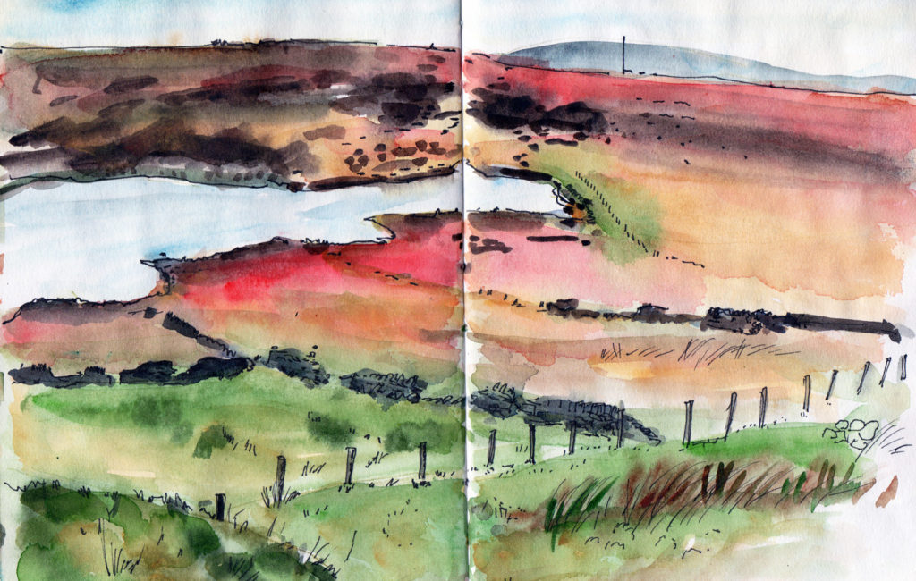 Warley Moor reservoir Halifax. Landscape sketch in pen and watercolour by Sophie Peanut
