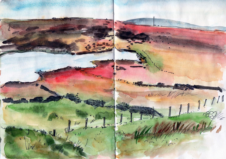 Warley Moor reservoir Halifax. Landscape sketch in pen and watercolour by Sophie Peanut