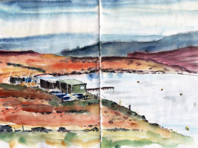 Warley Moor reservoir Halifax in pen and watercolour by Sophie Peanut