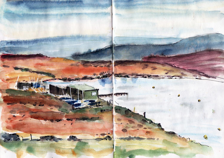 Warley Moor reservoir Halifax in pen and watercolour by Sophie Peanut