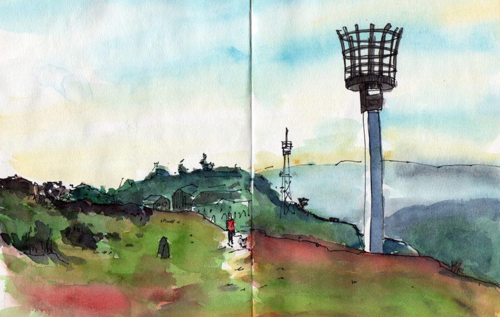 Landscape watercolour sketch by Sophie Peanut