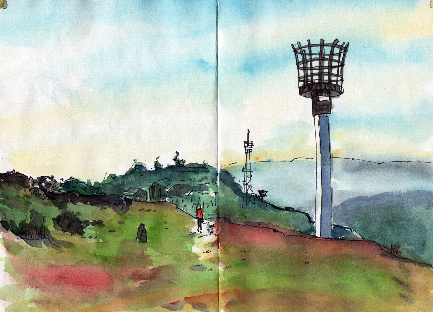 Landscape watercolour sketch by Sophie Peanut