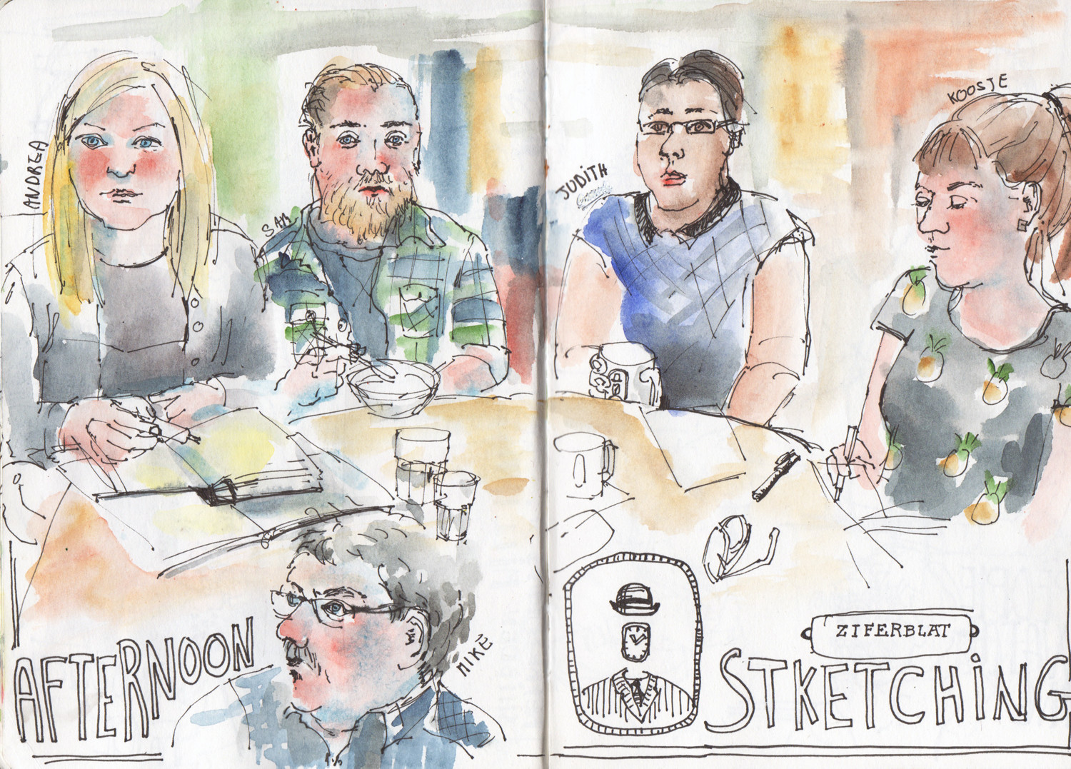 People Sketching - Andrea Joseph, Sam and Judith from Envelope Films, Koosje Koene and Mike at Ziferblat in Manchester