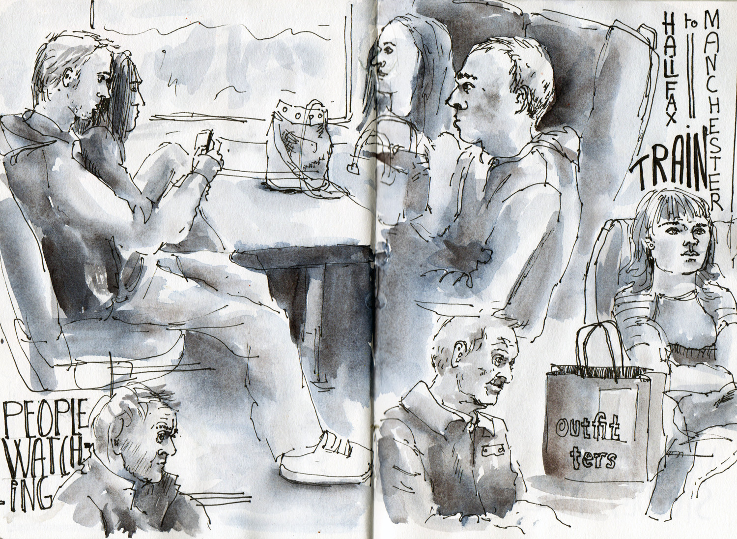 Sketching people on the train - Ink and watercolour drawing by Sophie Peanut