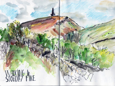 Stooldley Pike Sketch in pen, pencil and watercolour by Sophie Peanut