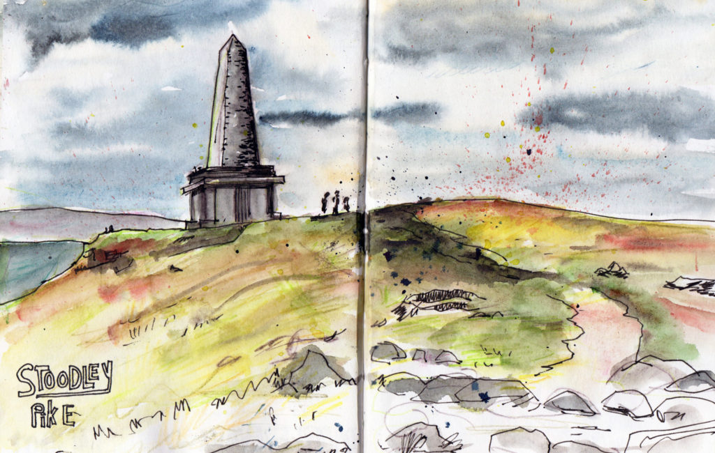 Stoodley Pike sketch in watercolour by Sophie Peanut