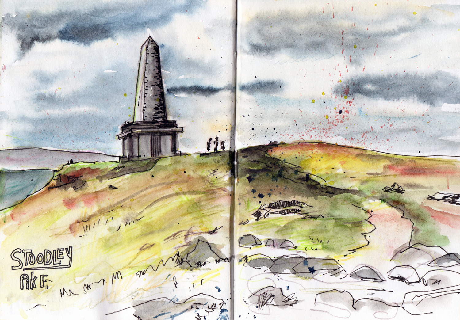 Stoodley Pike - quick landscape sketch in watercolour by Sophie Peanut