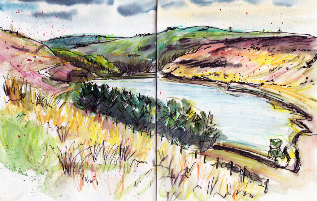 Landscape Sketching - Withens Cloth reservoir Calderdale - Sketch by Sophie Peanut