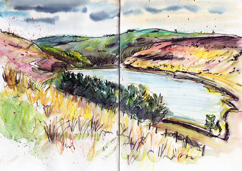 Landscape sketching withens cloth reservoir calderdale sketch by sophie peanut