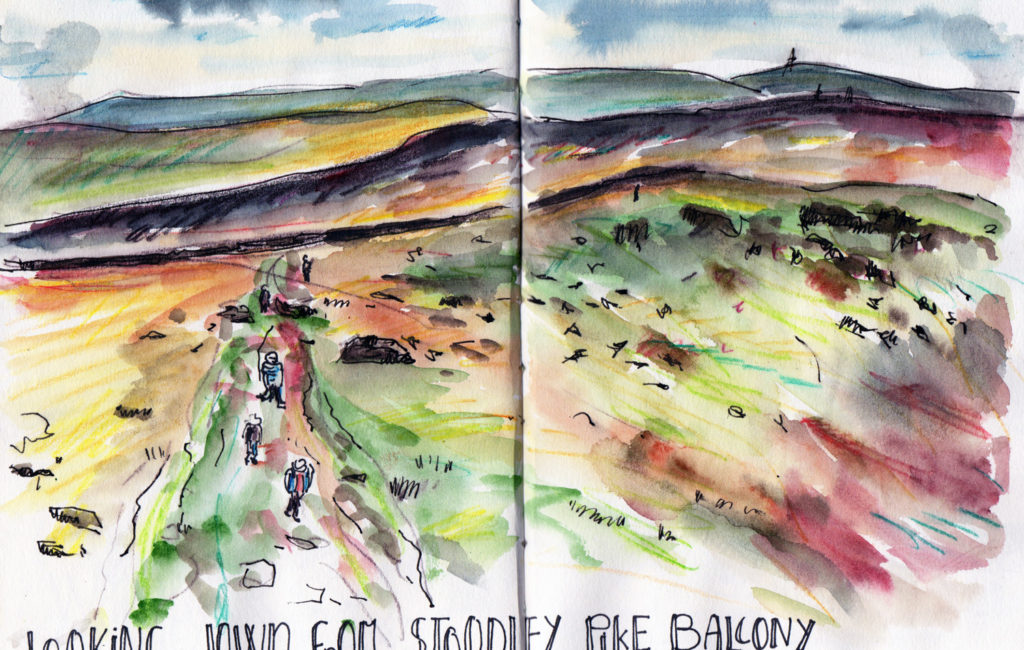 Landscape Sketching - View from Stoodley Pike Todmorden by Sophie Peanut
