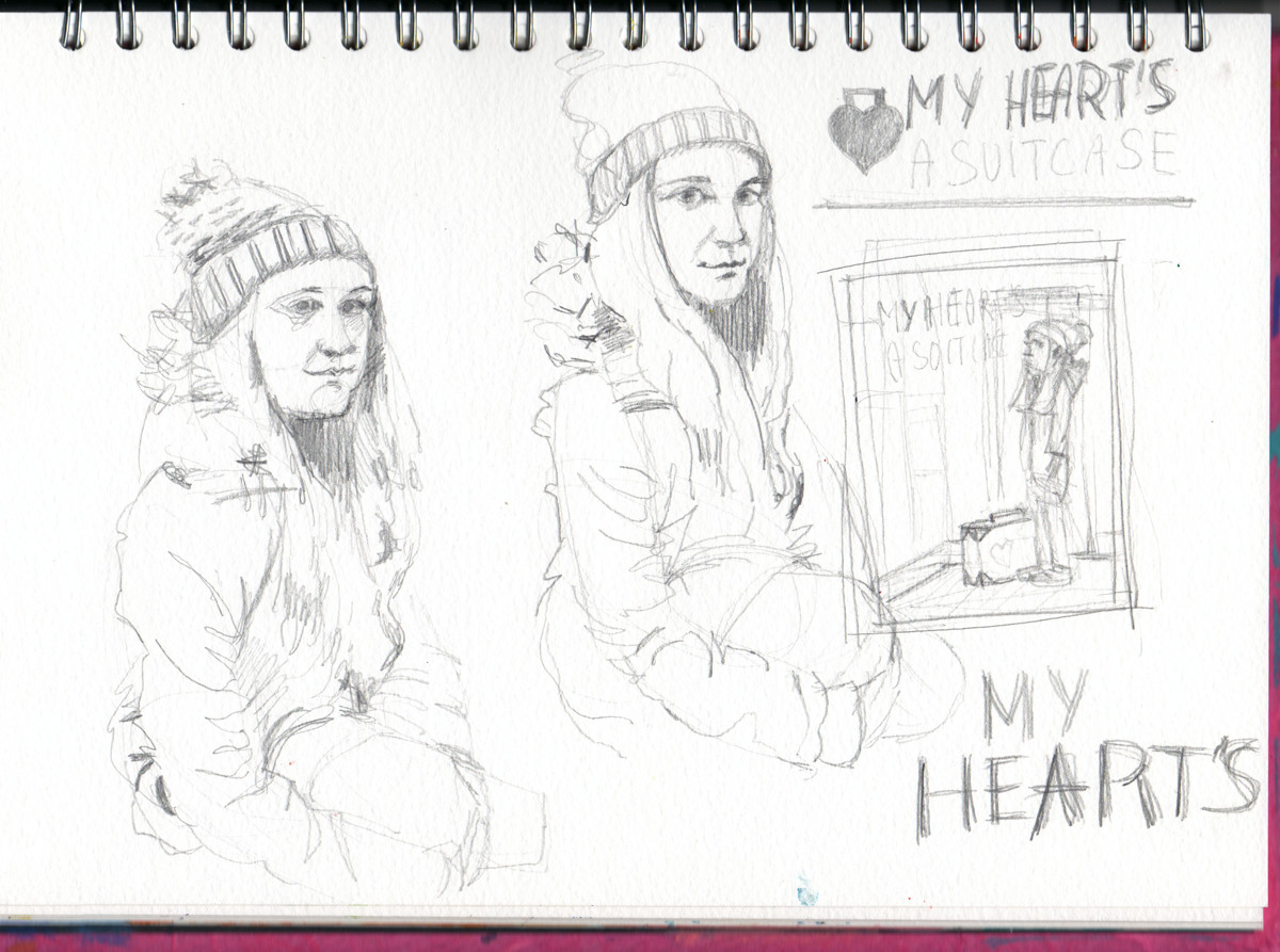 Pencil Sketches for theatre poster illustration - My Heart's a Suitcase