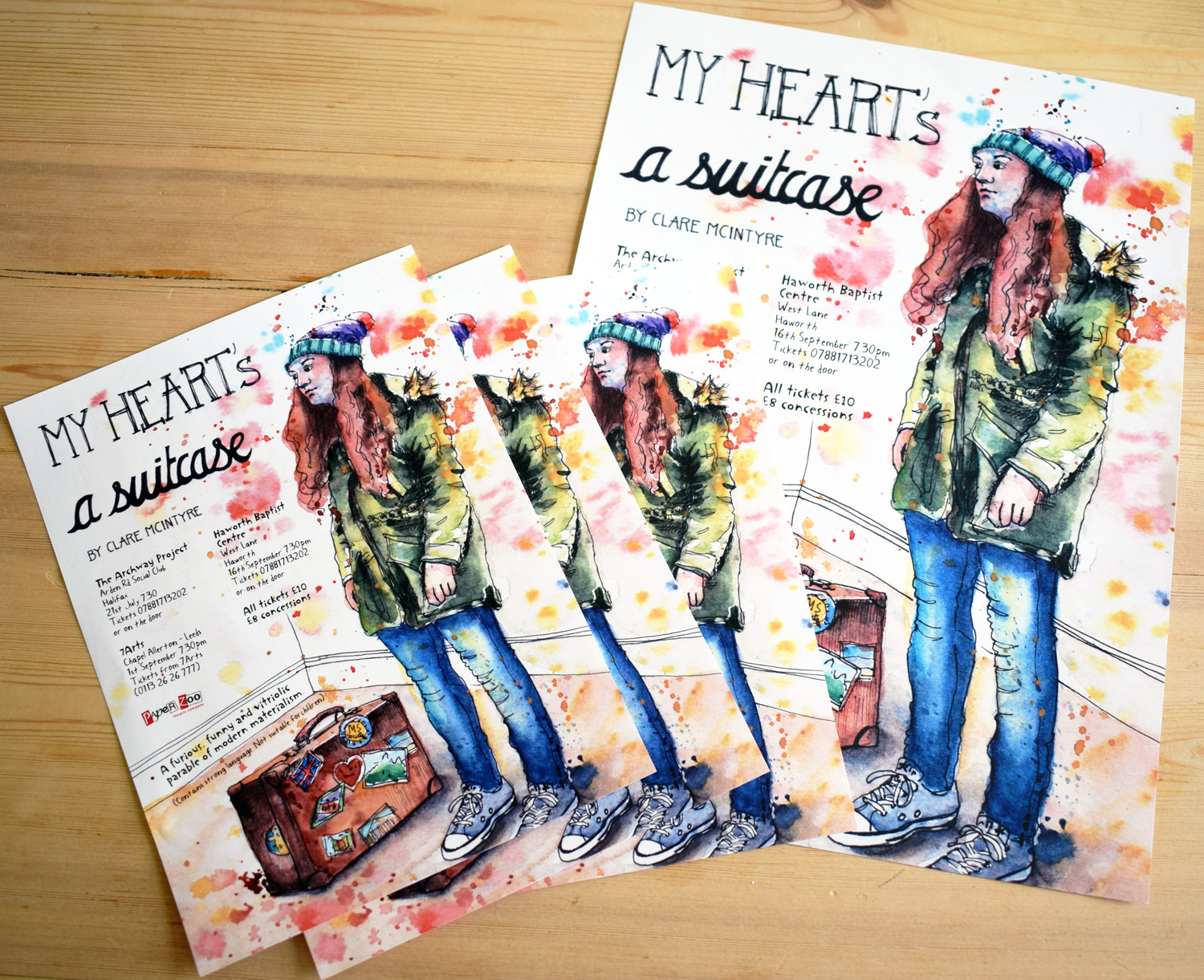 Theatre poster illustrations by Sophie Peanut. Leaflets and posters for My Heart's a suitcase by Clare McIntyre