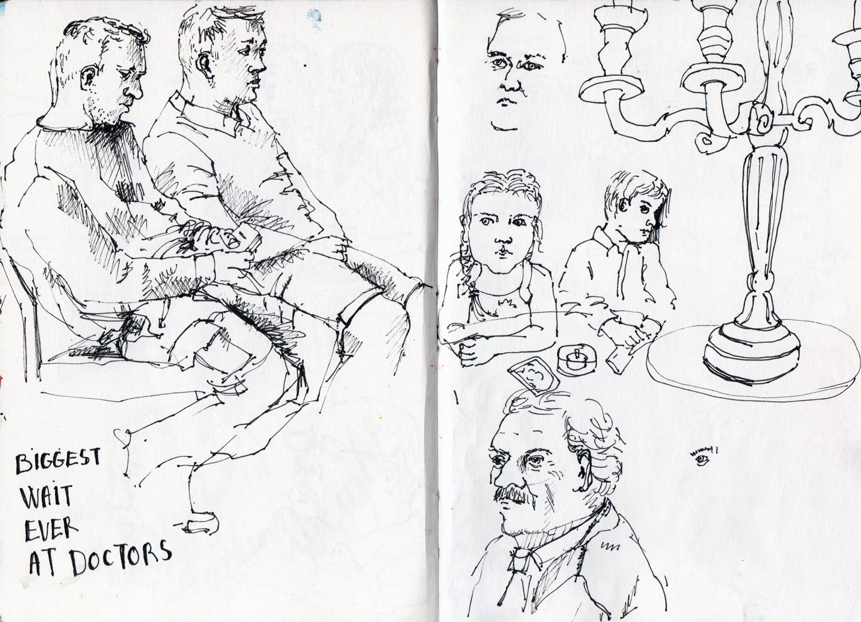 People sketching in ink Sophie Peanut