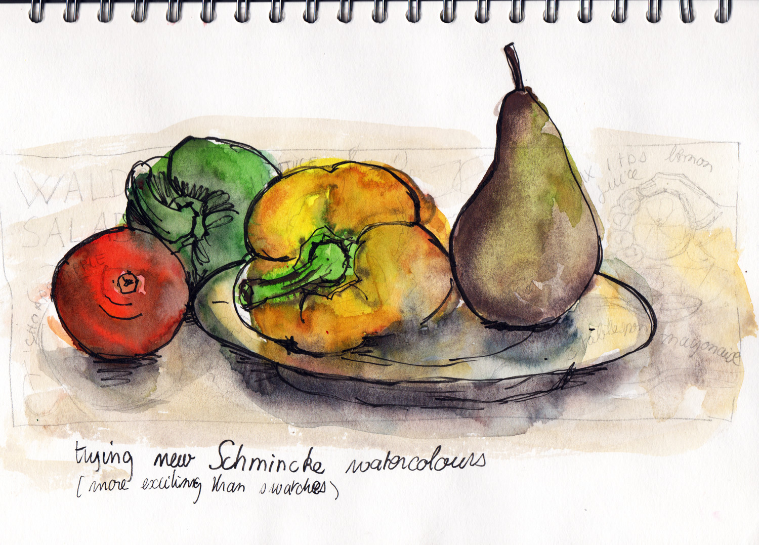 Quick study of fruit trying a new watercolour set by Sophie Peanut