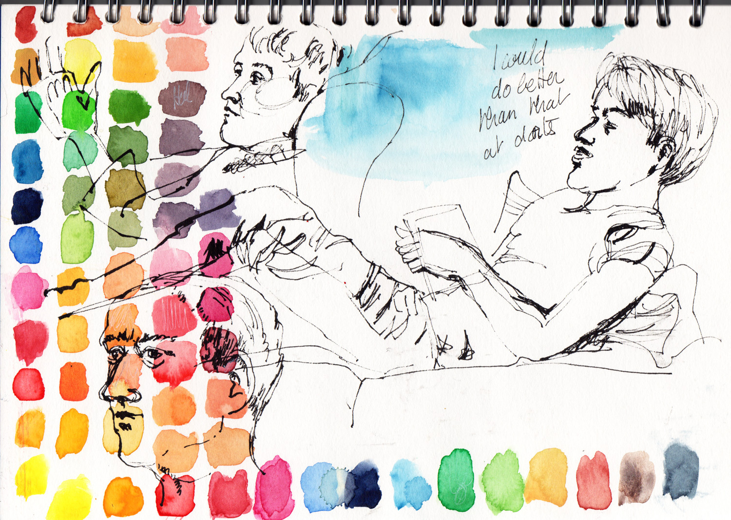 Sketchbook page in Watercolour and ink by Sophie Peanut