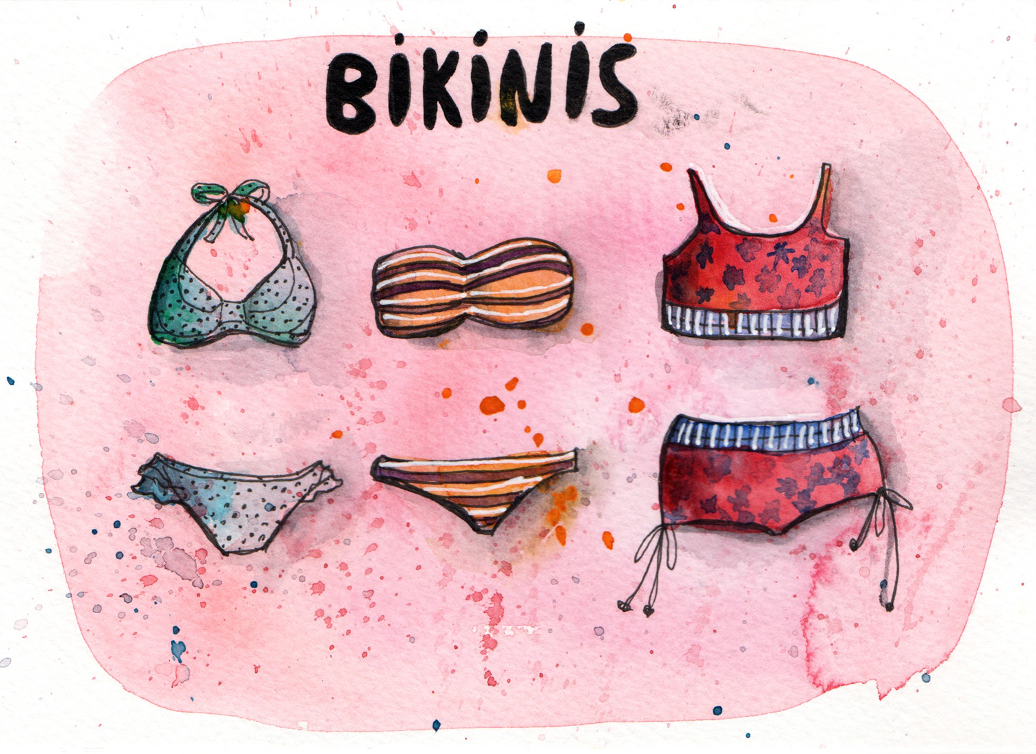 Daily Paintings by Sophie Peanut - Bikinis in pen and watercolour