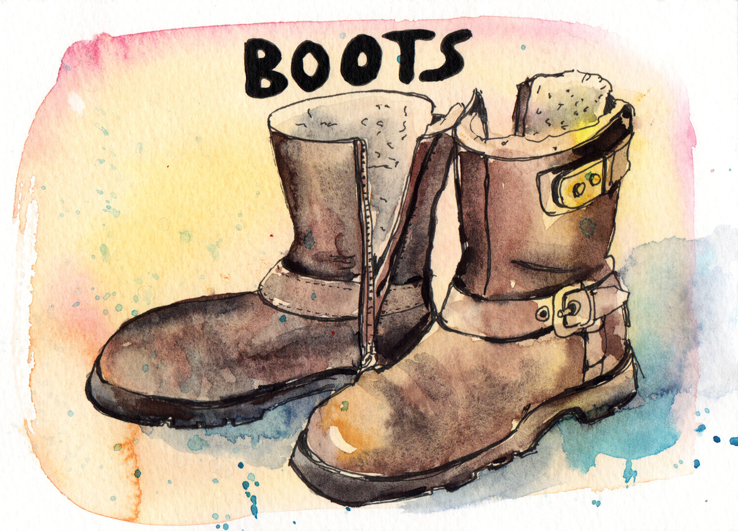 Daily Drawings Boots in Pen and Watercolour by Sophie Peanut
