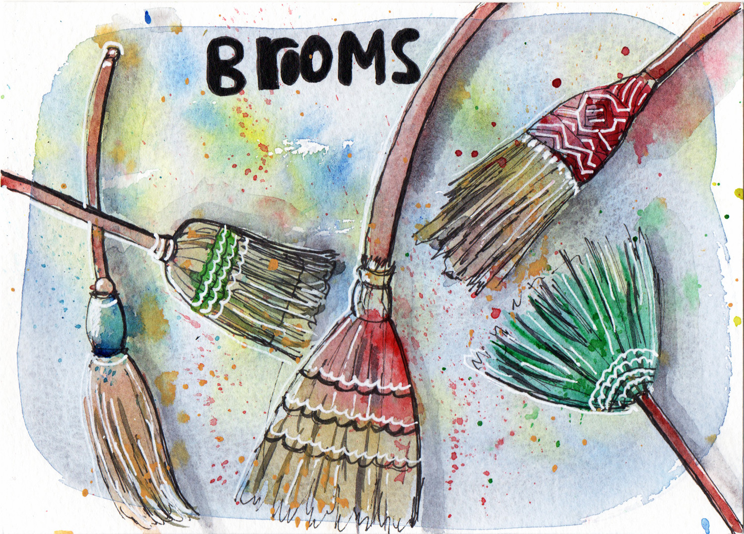 Brooms in Pen and Watercolour Daily Drawings by Sophie Peanut