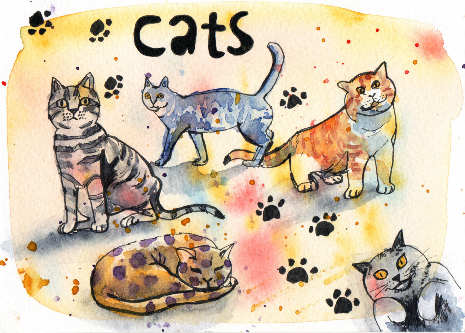 Cats in Pen and Watercolour Daily Drawings by Sophie Peanut