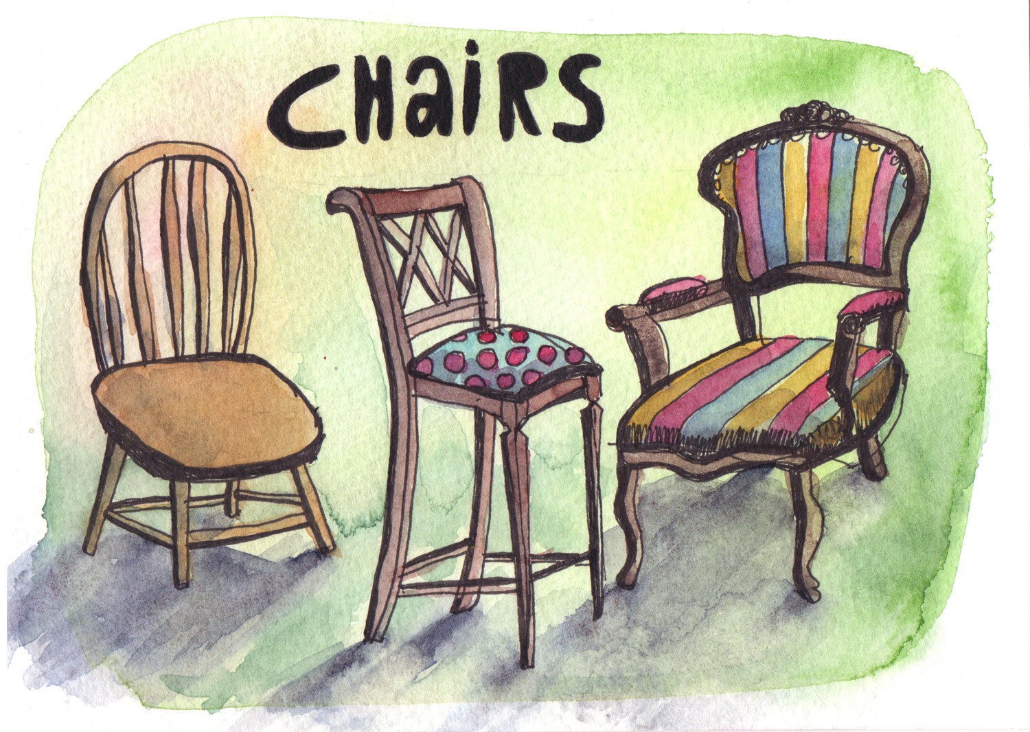 Daily drawings in Pen and Watercolour Chairs by Sophie Peanut