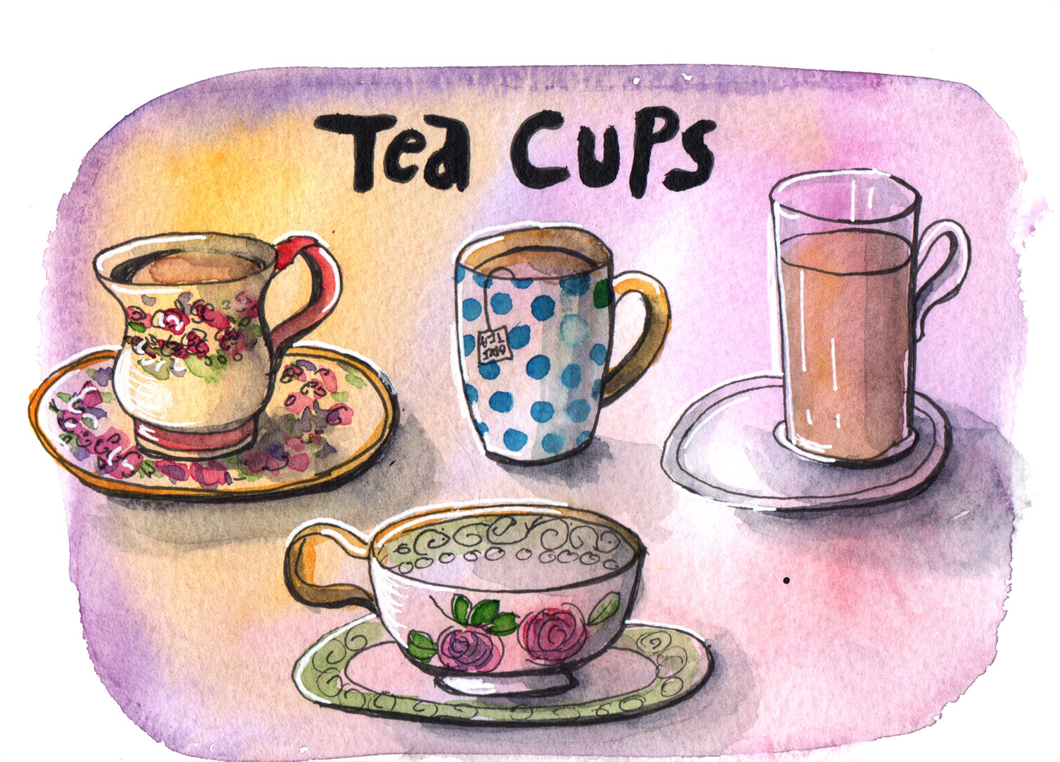 Daily drawings in Pen and Watercolour Tea Cups by Sophie Peanut