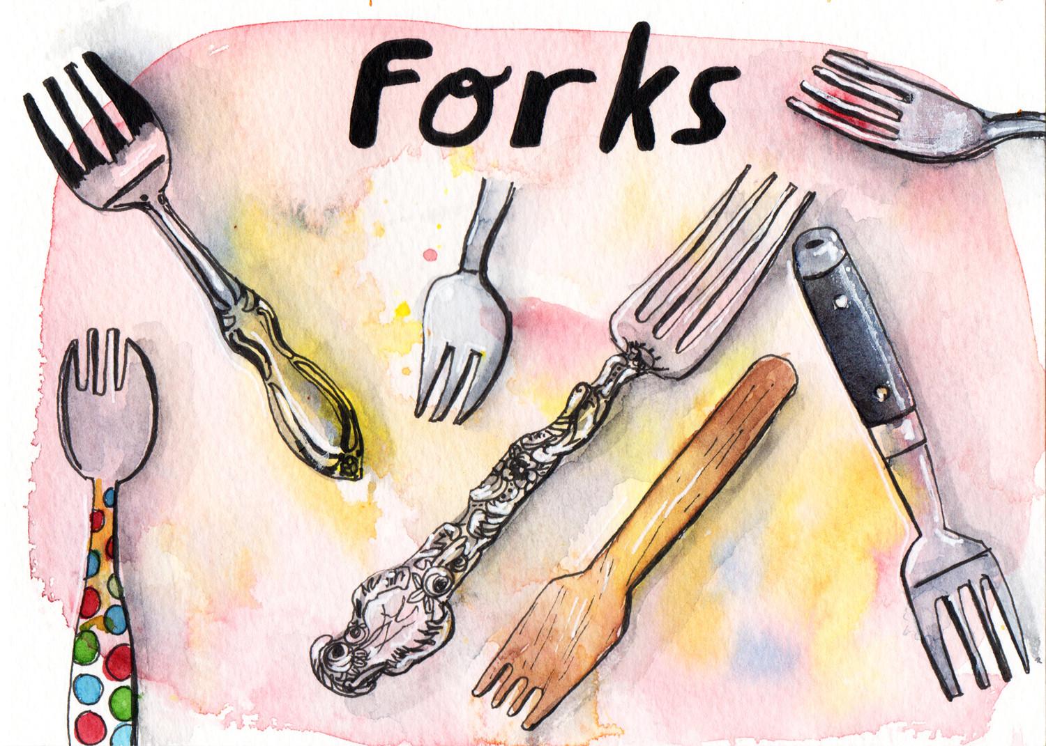 Daily Drawings by Sophie Peanut - Forks in pen and watercolour
