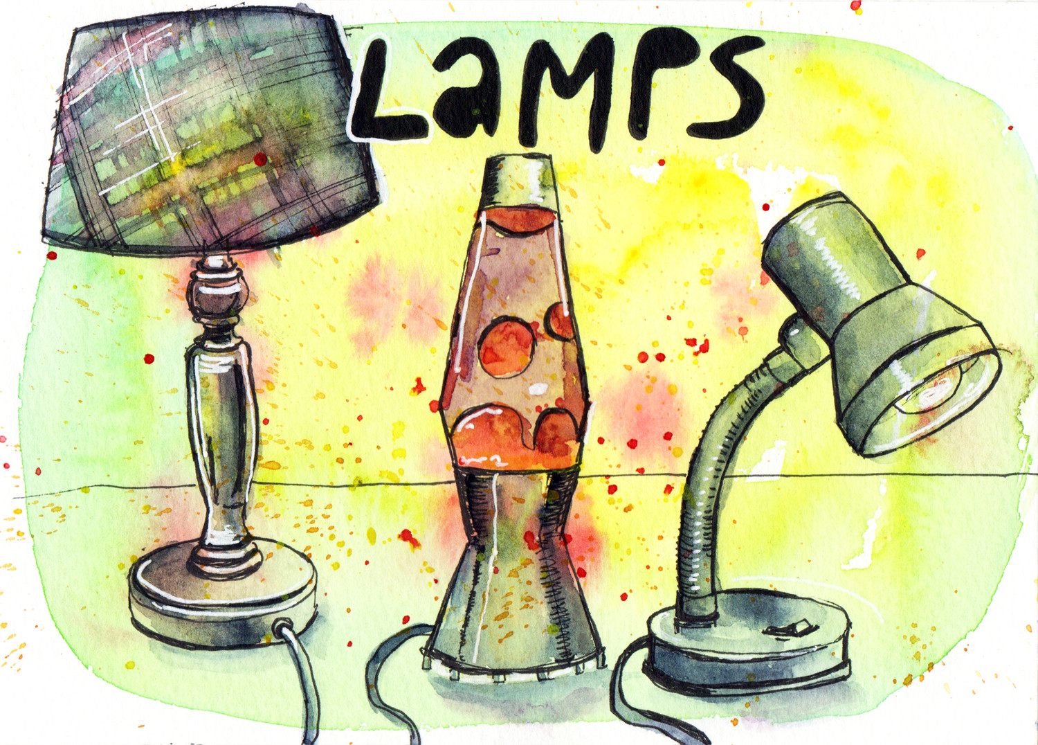 Daily Drawings Lamps in Pen and Watercolour by Sophie Peanut
