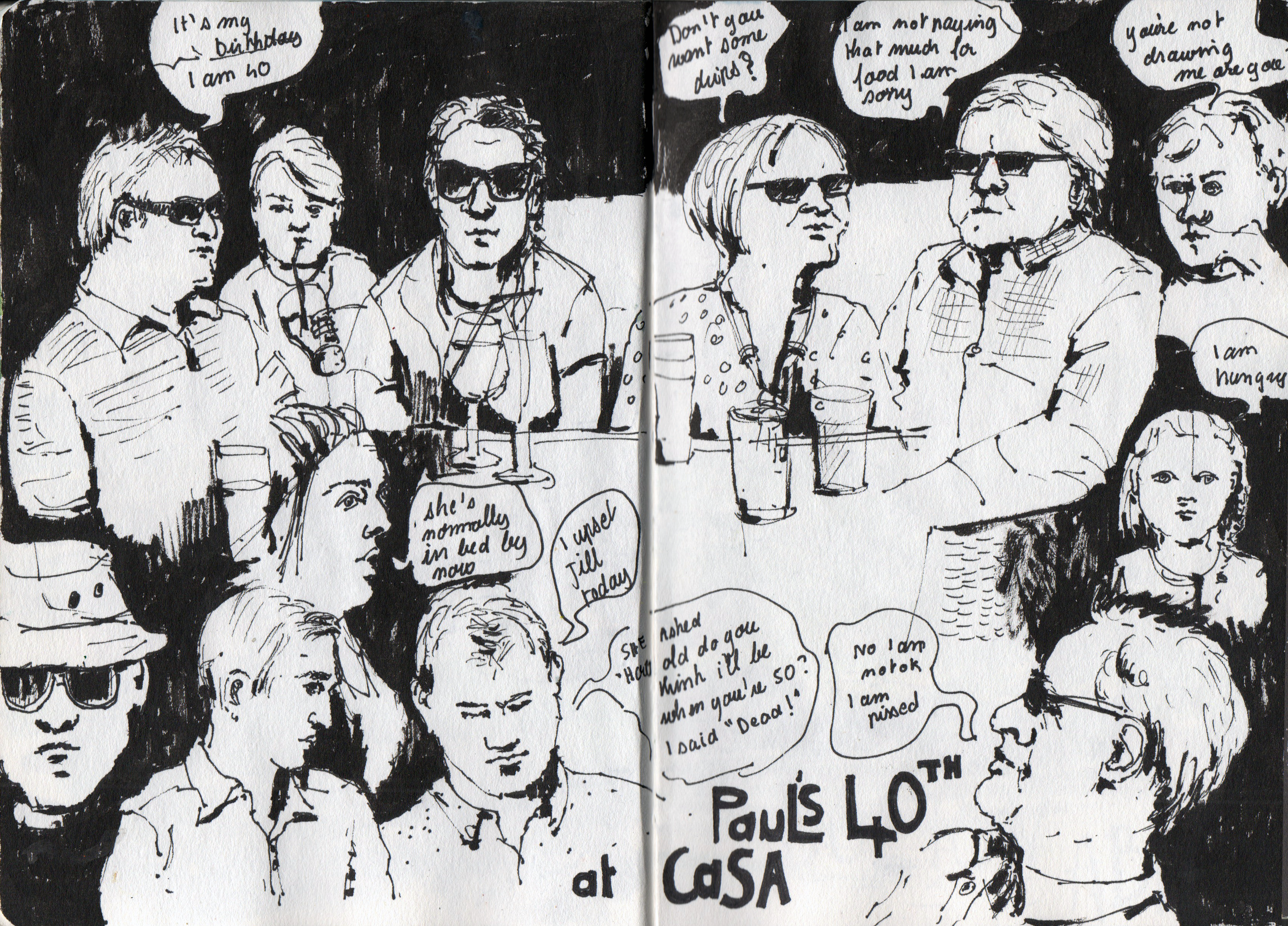 Paul's birthday party drawing in pen and ink