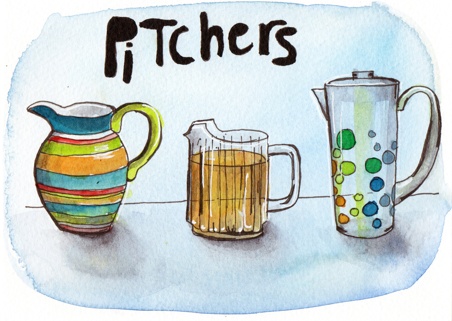 Daily drawings - Pitchers in pen and watercolour by Sophie Peanut
