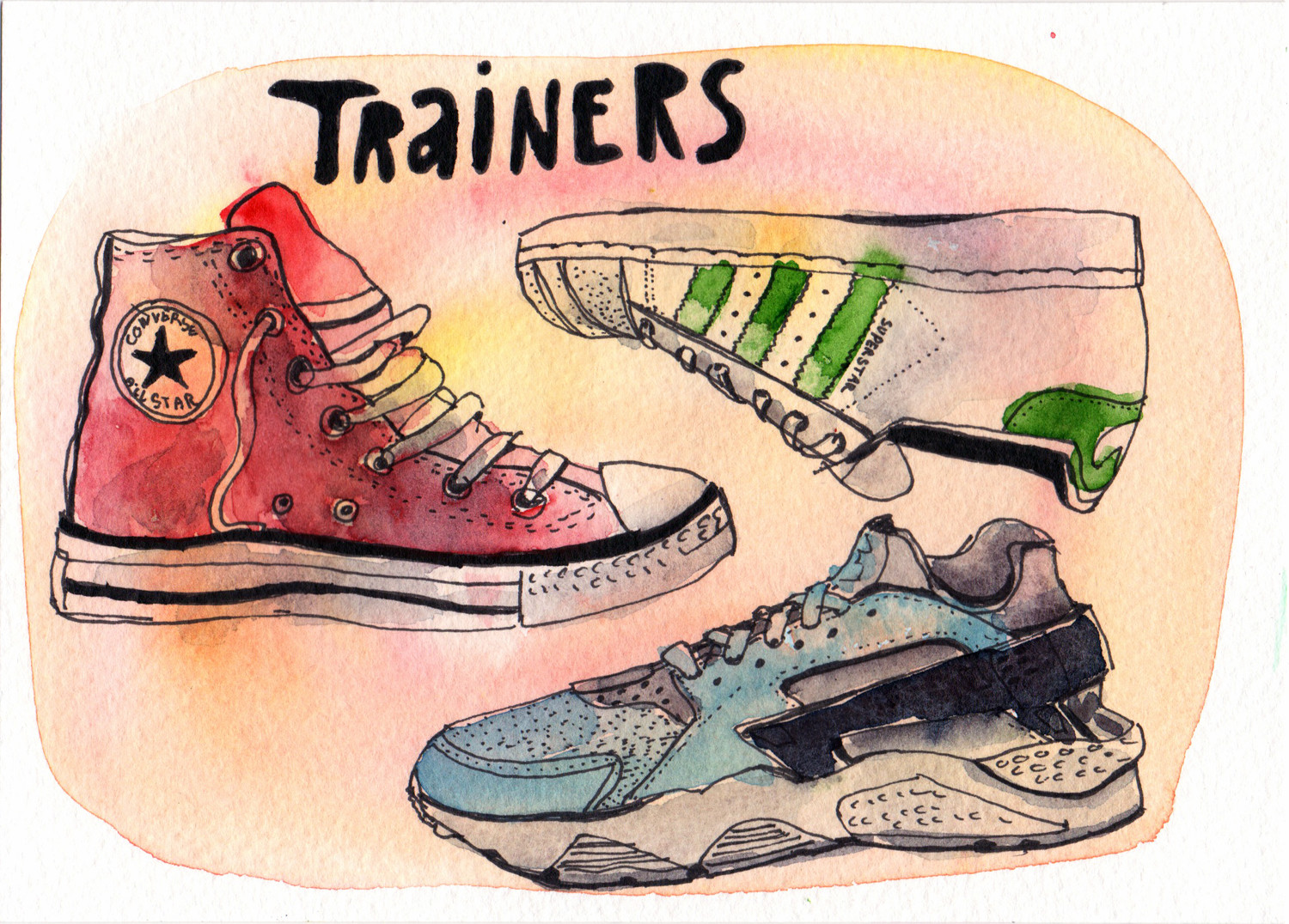 Daily drawings in Pen and Watercolour Trainers by Sophie Peanut