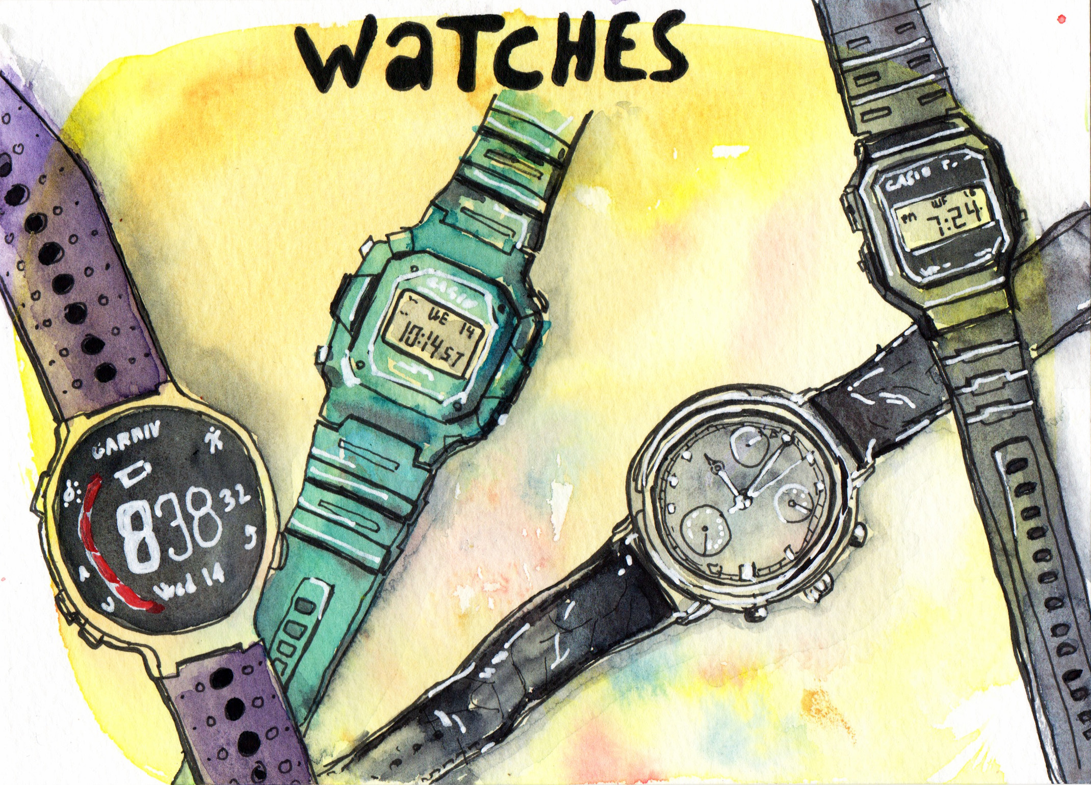 Daily Drawings Watches in Pen and Watercolour by Sophie Peanut