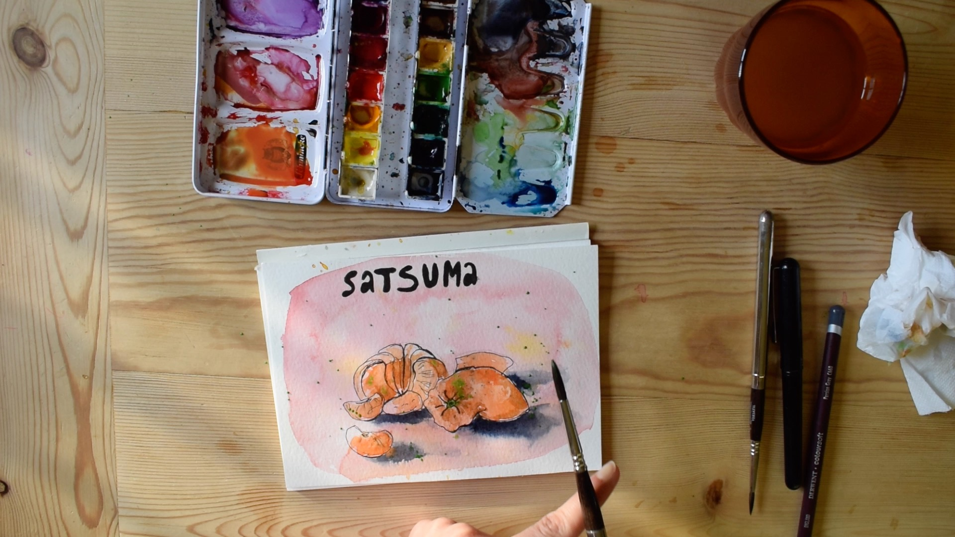 A few paint splashes to complete my Satsuma Watercolour Study