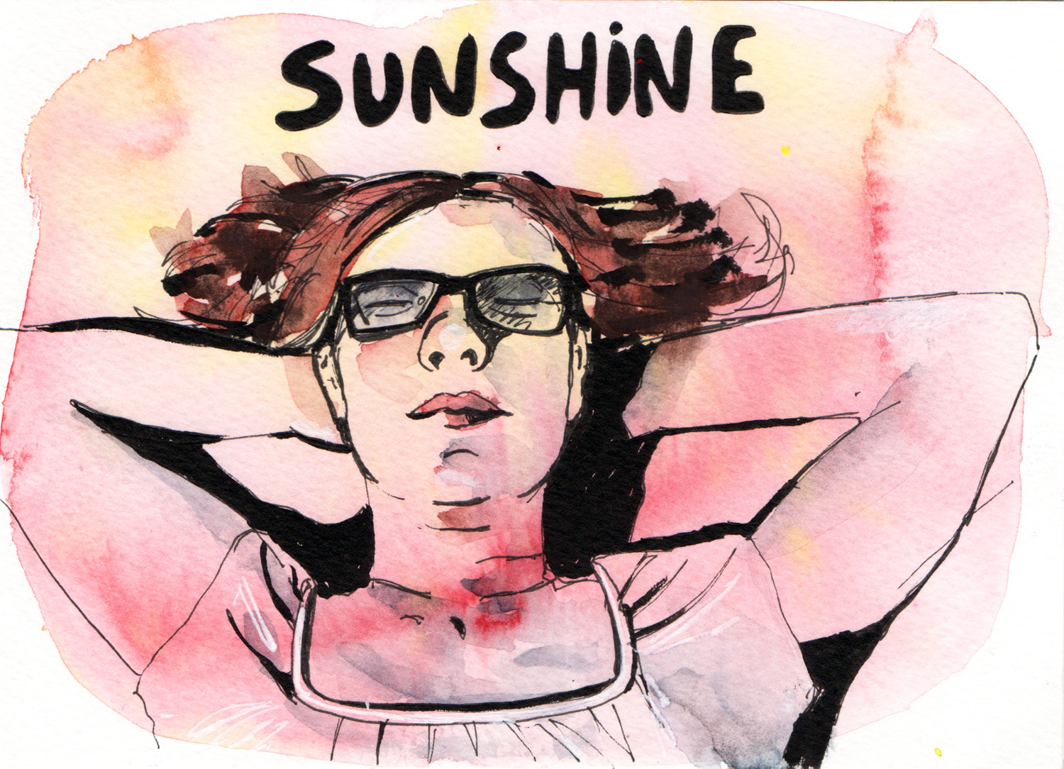 Daily Drawings Sunshine in Pen and Watercolour by Sophie Peanut