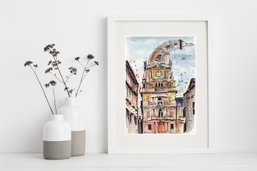 Halifax Town Hall Print - Pen and watercolour drawing by Sophie Peanut