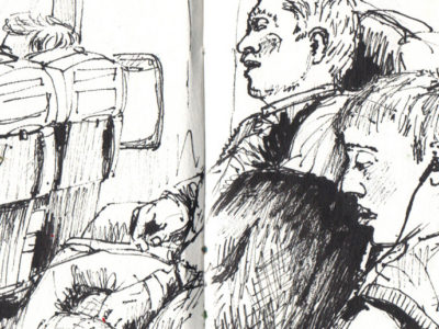 Holiday sketchbook - Plane sketch in pen