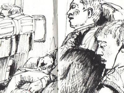 Holiday sketchbook - Plane sketch in pen