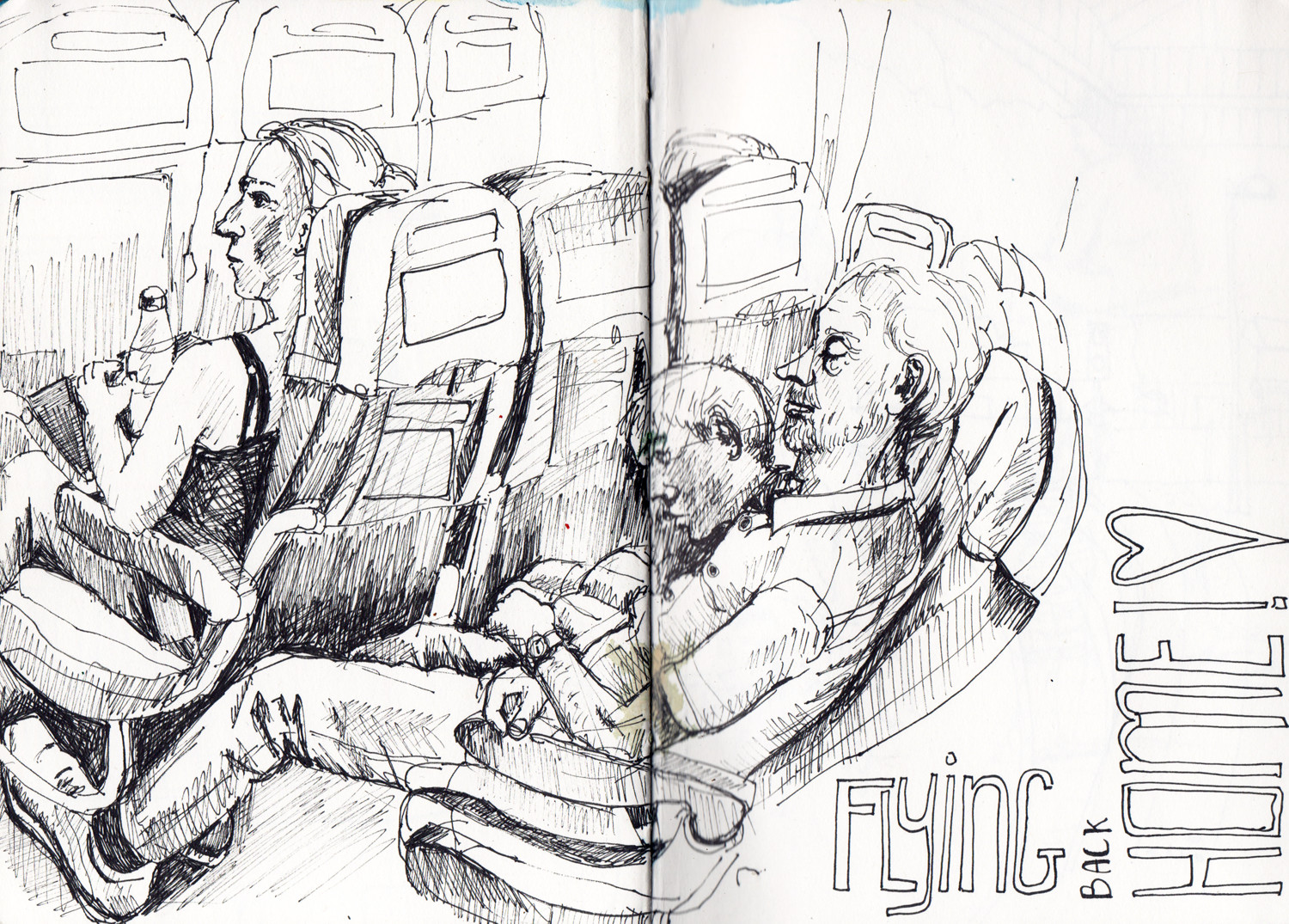 Plane sketch in pen