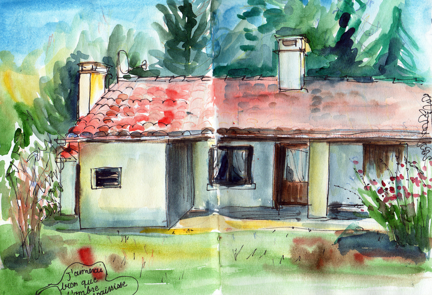 Bedenac - Grandparents house in pen and ink by Sophie Peanut