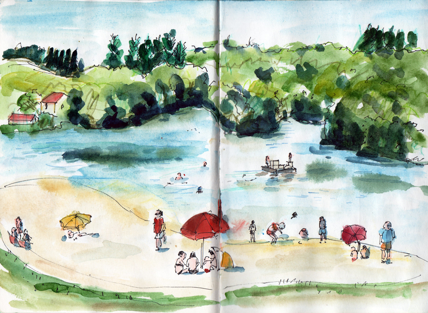 Holiday sketchbook - Lake side by Sophie Peanut