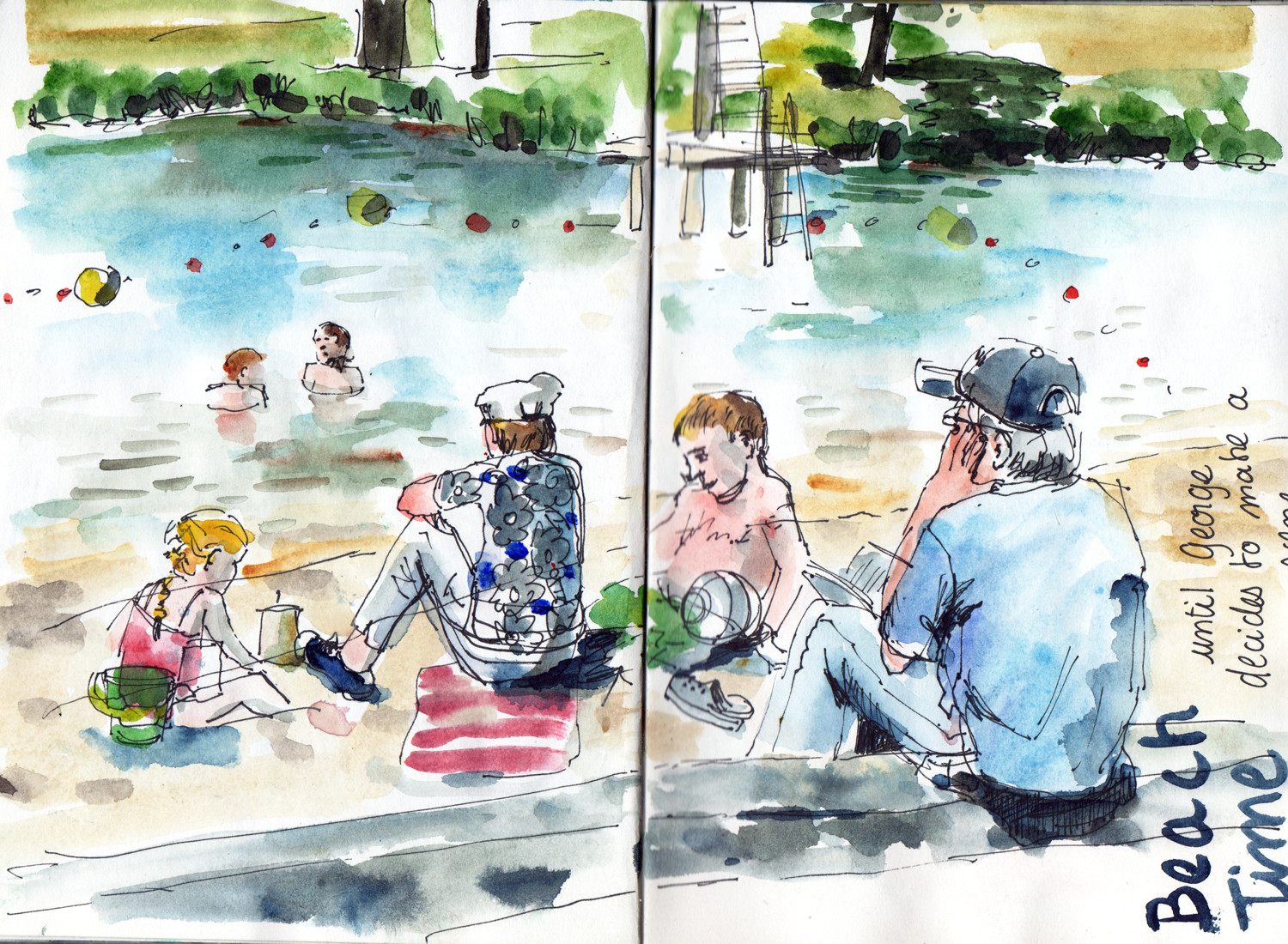 Lake side in pen and watercolour by Sophie Peanut