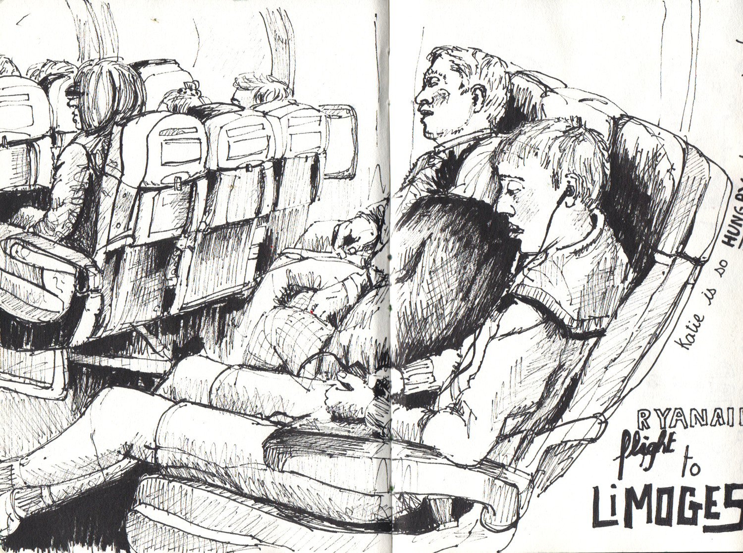 Plane sketch in pen by Sophie Peanut